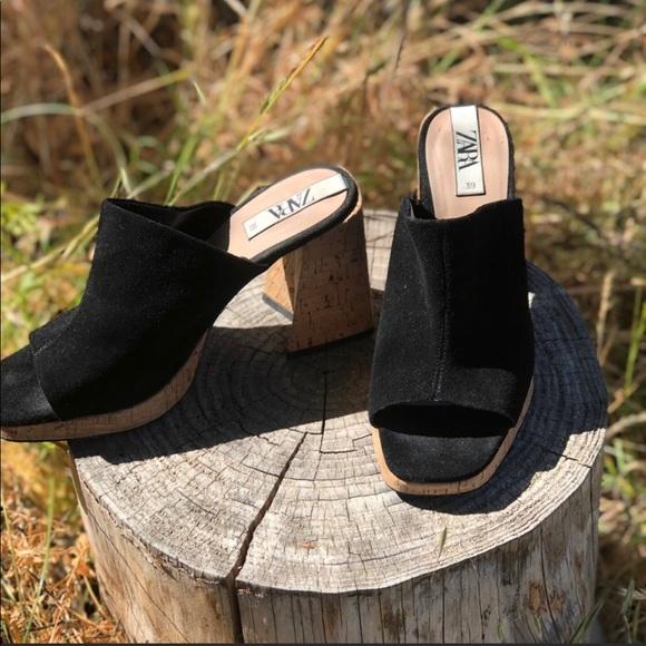 Black Suede Chunky Heel, Square Toe Cork Mules,10